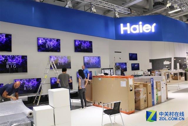 海尔展出的众多电视产品。